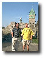 Dave and Coleman near the wall around Old Quebec