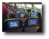 Linux entertainment LCD touch screen in every headrest of a Song airline 757.