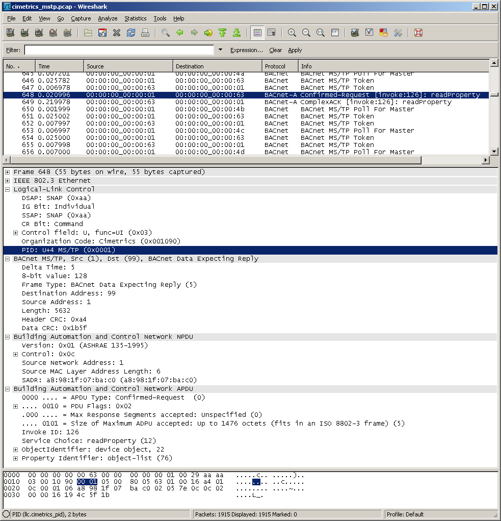 Wireshark and BACnet MS/TP | Steve's Software Trek